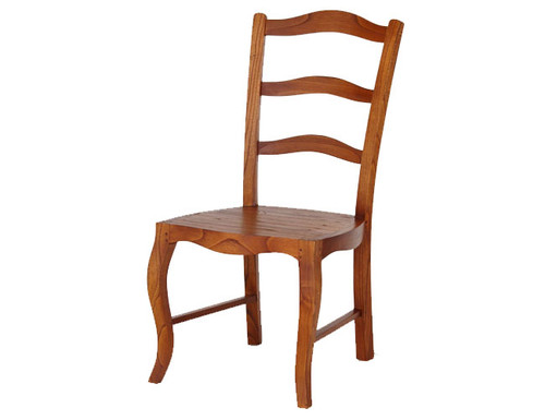 FRENCH PROVINCIAL DINING   CHAIR  WITH TIMBER SEAT   - LIGHT PECAN