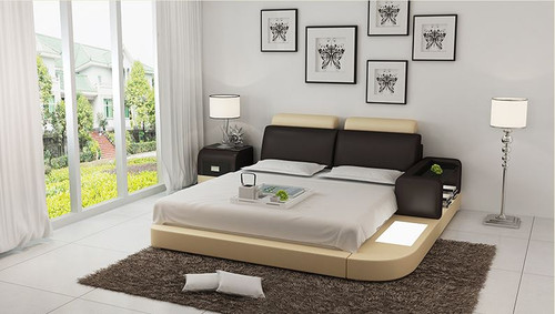 KING IDAHO  MODERN LEATHER BED ( LB8804) - ASSORTED COLOURS AVAILABLE IN DIFFERENT  LEATHERS (COLOUR BOARD ATTACHED IN IMAGE SECTION)