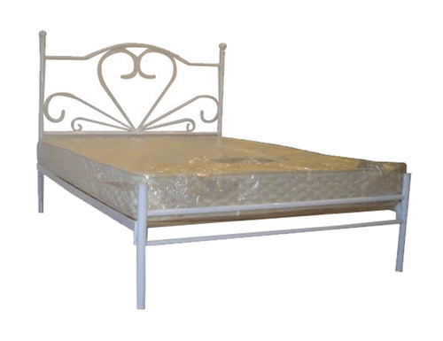 DOUBLE CUPID  METAL  BED - WHITE PEWTER OR BLACK