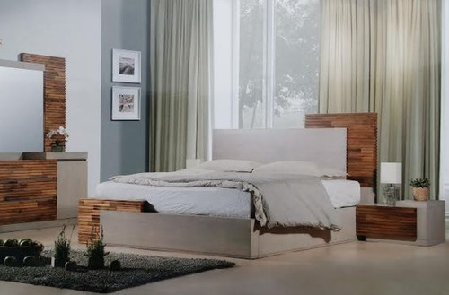 QUEEN EMBRACE  BED  (12-9-26-1) - ARTISAN OAK / NATURAL