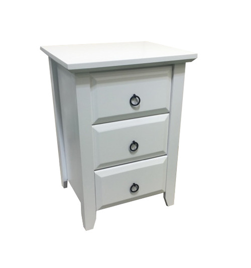 MANILLA BEDSIDE WITH 3 DRAWERS AND RING HANDLES - ASSORTED TIMBER COLOUR STAINS (NOT AS PICTURED)