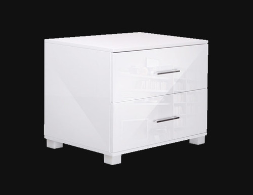 BENNY 2 DRAWER POLLY BEDSIDE TABLE - ( FURNI-GLOSS-SIDE-WH) - HIGH GLOSS WHITE
