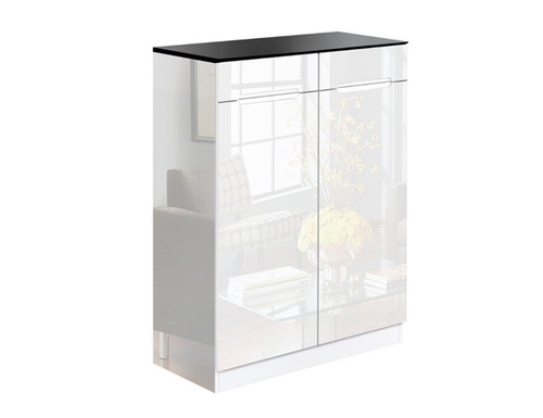 LENNY HIGH GLOSS SHOE CABINET RACK - WHITE / BLACK