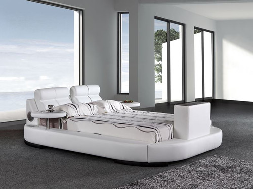 KING  WORCHESTER   LEATHERETTE BED WITH TV LIFT & 2X SIDE TABLES (G1031#) - ASSORTED COLORS