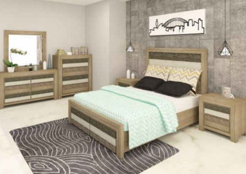 HIGHLAND QUEEN 6 PIECE(THE LOT)   BEDROOM SUITE  (3-8-1-20-5-1-21) - BRUSHED & MULTI COLOR
