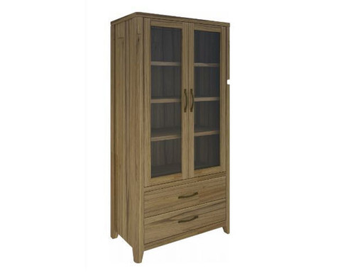 COSMO 1900(H) X 920(W) HARDWOOD DISPLAY CABINET WITH 2 DRAWERS  (VCO-012) - NATURAL OAK