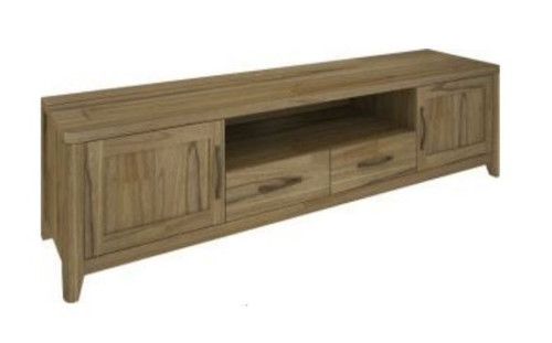 COSMO  HARDWOOD ENTERTAINMENT UNIT WITH 2 DOORS & 2 DRAWERS (VCO-007) - 2100(W) - NATURAL OAK