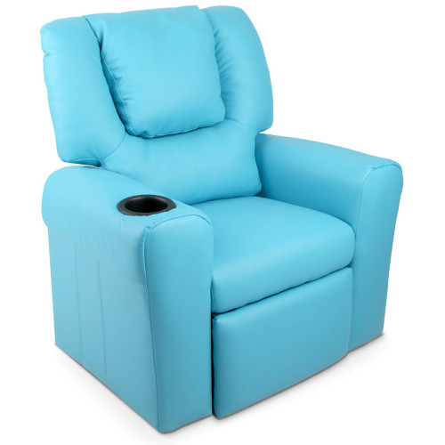 AMARIS  KIDS SINGLE LEATHERETTE RECLINER CHAIR (KID-RECLINER-BU) - BLUE