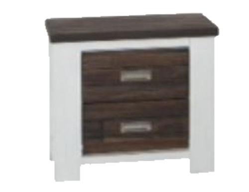 ESSENTILA 2 DRAWER TWO - TONED HARDWOOD BEDSIDE TABLE (6-18-5-9-4-1) - WHITE / ASH GREY