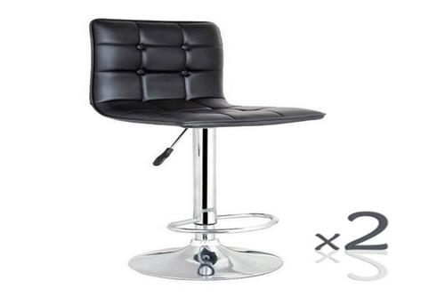 DINO LEATHERETTE GASLIFT  (SET OF 2) BARSTOOL - SEAT: 590-800(H) - (VJY-1071) - BLACK