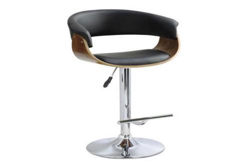 FOCUS BENTWOOD GAS LIFT SWIVEL BAR STOOL - SEAT: 630 - 840(H) - (VJY-1953) - BLACK / WALNUT OR WHITE / WALNUT