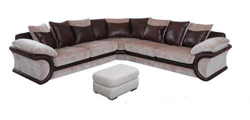 CLEO CORNER  FABRIC  / LEATHERETTE UPHOLSTERED LOUNGE SUITE -