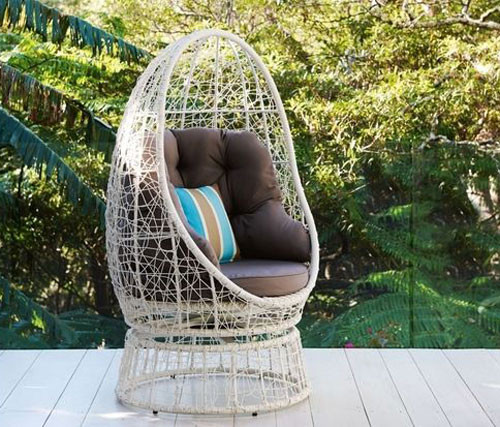 SAMANTHA SWIVEL WICKER POD CHAIR WHITE Australias Best Online