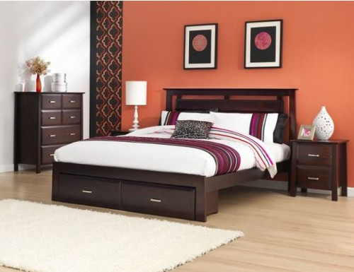 KING SINGLE  ANGELO BED WITH SINGLE UNDERBED STORAGE DRAWERS  (OR-76-1) - DARK CHOCOLATE