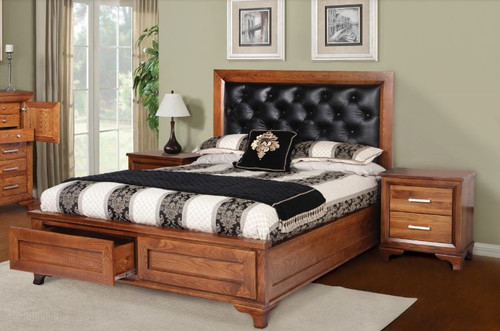 QUEEN CASSIDY  AMERICAN OAK BED FRAME WITH UPHOLSTERED BEDHEAD AND UNDERBED STORAGE (3-1-13-4-5-14) - OAK