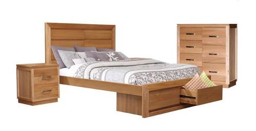 TREASURE QUEEN 3  PIECE BEDSIDE   BEDROOM SUITE (BED WITH 2 END DRAWERS) -   (20-1-18-1) - LIGHT OAK