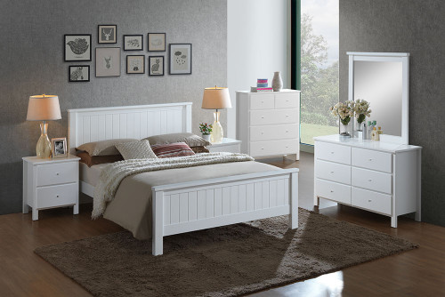 EMPRESS KING 5 PIECE HARDWOOD / MDF DRESSER  BEDROOM SUITE (2-18-15-4-9-5) - WHITE