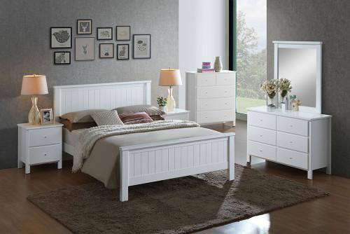 EMPRESS DOUBLE OR QUEEN  5 PIECE HARDWOOD / MDF DRESSER  BEDROOM SUITE (2-18-15-4-9-5) - WHITE