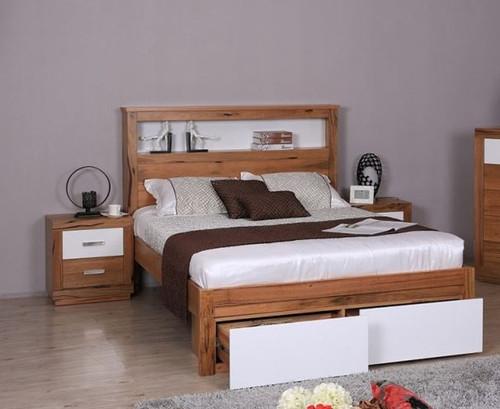 DESTINY  KING  HARDWOOD TIMBER 3 PIECE BEDSIDE BEDROOM SUITE (8-1-12-5) - NATURAL / WHITE