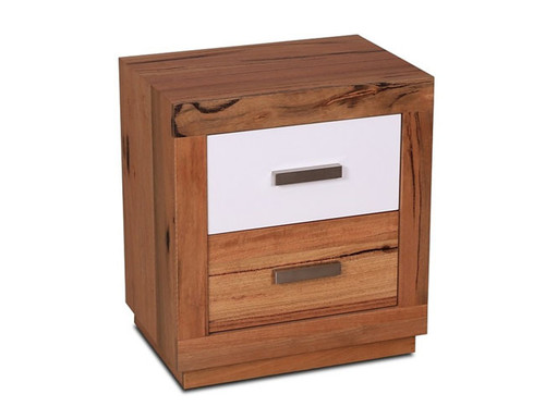 DESTINY  2  DRAWERS  HARDWOOD TIMBER  BEDSIDE TABLE -  (8-1-12-5) - NATURAL / WHITE
