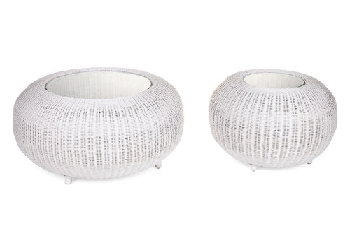 RATTAN  COFFEE TABLE & SIDE TABLE  SET WITH GLASS TOP - WHITE
