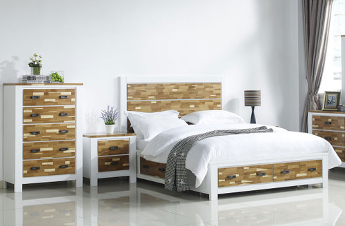 ARAN (613) KING 4 PIECE TALLBOY BEDROOM SUITE WITH 4 UNDERBED DRAWERS (MODEL 1-18-9-1) - 2 TONED NATURE/WHITE
