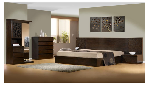 DALOON  QUEEN 5 PIECE DRESSER BEDROOM SUITE- WITH SIDE STORAGE DRAWER (MODEL 4-1- 22-9-14-3-9) - WALNUT