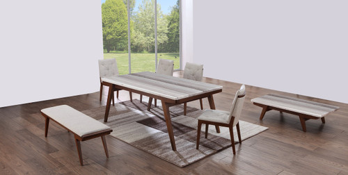 CLAUDE  (9006)   7 PIECE DINING SETTING WITH 6 CHAIRS - 1800(L) TABLE (MODEL-19-9-3-9-12-25) - WALNUT