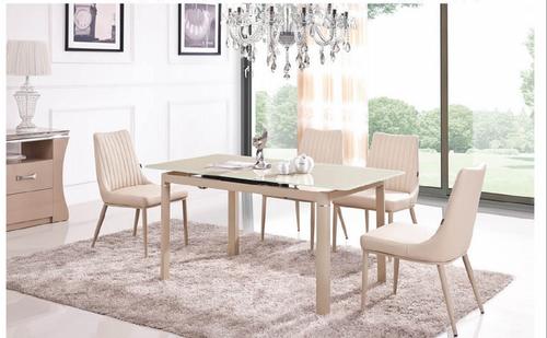 COMBO (9015)  EXTENDABLE DINING  TABLE 1200 - 1450(L) X 800(W)  - (MODEL-2-112-12-1) - KHAKI / WHITE