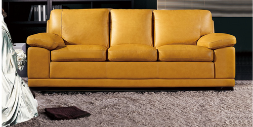 BARABOUGH  3  +  2 SEATER   FULL LEATHER  LOUNGE SUITE   - (MODEL13-15-14-20-18-5-1-12) YELLOW