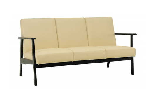 TELFORD  THREE (3)  SEATER  SCANDINAVIAN LEATHERETTE  LOUNGE - CREAM