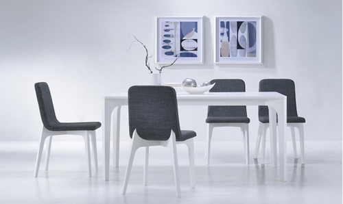 ELSIE 7 PIECE DINING SETTINGS -WITH 1800(L) X 950(W)TABLE - (KIT#084)-DARK GREY / WHITE