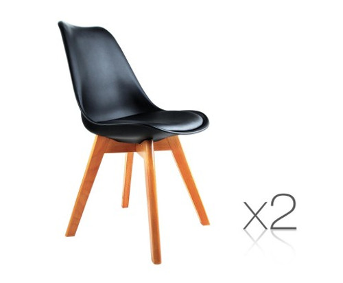 DASH SET OF 2 DINING CHAIR - LEATHERETTE SEAT - BLACK / BEECH