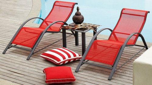 ALPS 3 PIECE SUN LOUNGER SET - RED, MOCHA, GREEN, BLUE AND BLACK