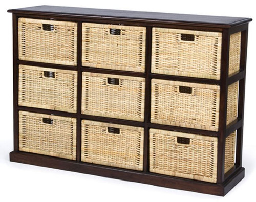 BALINESE CANE STORAGE DRAWERS (DET709) WITH 9 DRAWERS - CHOCOLATE