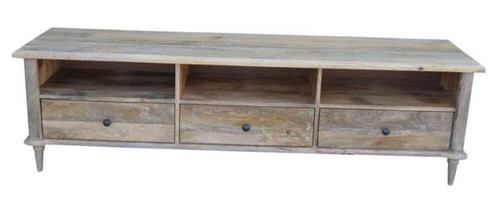 CONSTANCE   ENTERTAINMENT UNIT WITH 3 DRAWERS & 1 LONG SHELF (NOT 3 AS PICTURED)   -1750(W) - DISTRESSED WHITEWASH