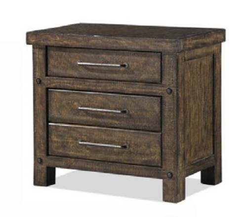 AUSTIN (B112) 3  DRAWERS BEDSIDE TABLE - RUSTIC