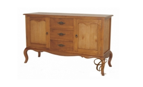 FRENCH  PROVINCIAL   BUFFET 3 DRAWERS & 2 DOORS - 930(H) X 1540(W) -(SB 203 FP) - LIGHT  PECAN