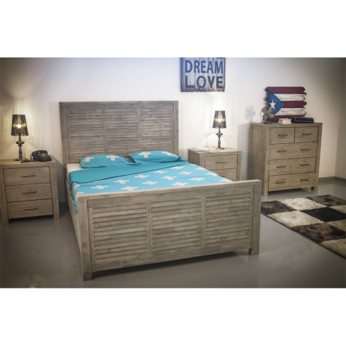 AUSTENE KING 4 PIECE TALLBOY  BEDROOM SUITE - SANDBLAST / LIGHT GREY