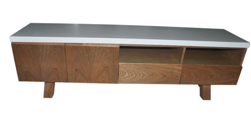 COPACABANA ENTERTAINMENT UNIT 1800(W) x 400(D) - CONCRETE (DARKER GREY TOP) OR WHITE LAMINATE TOP (PICTURED)