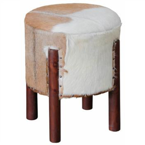 DAKOTA GOAT HIDE UFO STOOL - 510(H) -MAHOGANY