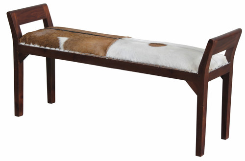DACEY DOUBLE BENCH WITH GOAT HIDE SEAT - MAHOGANY