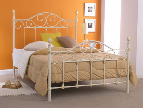 KING NAIDINE BED (MODEL 1-22-15-14-20) (AIC-10-B034) - BRIGHT WHITE (NO GOLD BRUSH) - SIMILAR TO BED IN IMAGE