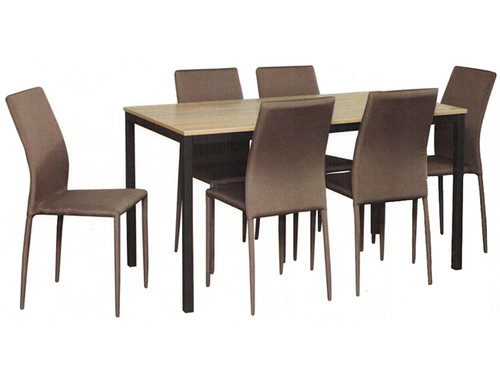 APOLLO 7 PIECE  TIMBER DINING SETTING WITH  1500(L) X 800(W) TABLE -GREY WASH