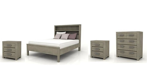 KENDALL  QUEEN  4 PIECE TALLBOY  BEDROOM SUITE (BOOKCASE BED)  - BRUSHED LIGHT GREY