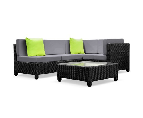 DOMINO 5 PIECES BLACK WICKER RATTAN 4 SEATER OUTDOOR LOUNGE SET GREY