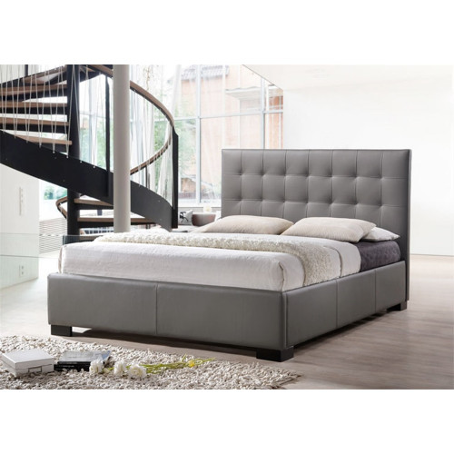 DOUBLE RAVEENA BED FRAME - LEATHER - GREY