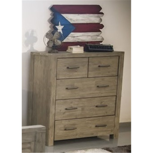 AUSTEN 5 DRAWER TALLBOY - SANDBLAST LIGHT GREY