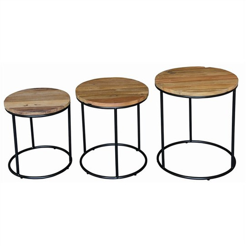 DAVID SET OF 3 ROUND LAMP TABLE 450(W) - NATURAL TEAK