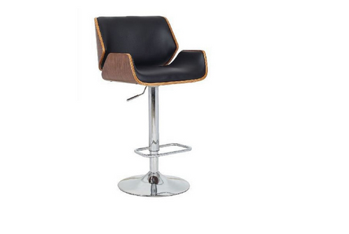 BRISCIA BENTWOOD GAS LIFT BAR STOOL - SEAT: 930-1140(H) - BLACK / WALNUT